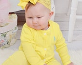 Yellow Baby Headband.Baby Bow.Lace Headband.Yellow Bow.Yellow Headband.Baby Hair Bows.Baby Girl Headband.Baby Lace Headband.Yellow.Hairbow