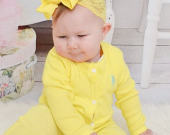 Lace Baby Bow Headband.Baby Hair Bow Lace Headband.Yellow Bow Yellow Headband.Baby Hair Bows.Baby Girl Headband.Baby Lace Headband.Lace Bow