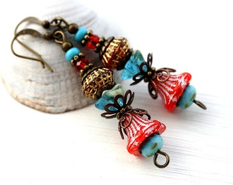 Red and Turquoise Flower Earrings, Floral jewelry, Boho Beaded Earrings, Glass Flower Earrings, Nature lover gift, by MayaHoney