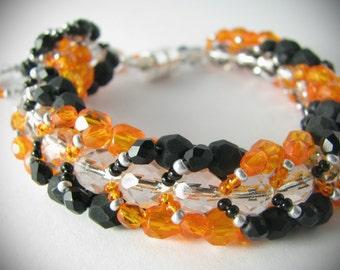 Classy Orange & Black Bracelet (300-500 Beads)