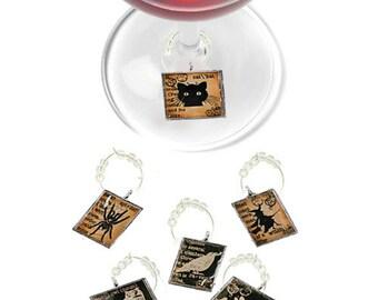 Halloween Wine Charms, Halloween Glass Tags, Halloween Glass Markers, Wine Glass Markers, Wine Glass Charms, Wine Glass Tags, Halloween Gift