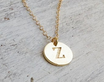 Personalized Initial necklace, gold disc initial necklace, bridesmaid necklace, custom necklace, hand stamped disc necklace 21000