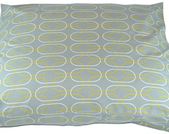 Grey and Yellow Dog Bed