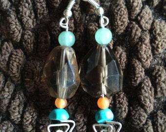 Elegant Earrings feat Smokey quartz, turquoise, Citrine, Aventurine
