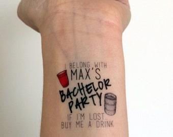 15 Custom Bachelor Party Temporary Tattoos - for the Groom