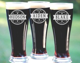Personalized Groomsmen Gifts, Beer Glasses, Wedding Toasting Glasses, Pint Glasses, 10 Custom Beer Mugs, Gifts for Groomsmen, 16oz Glassware