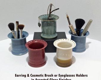 Earring and Cosmetics Brush Organizer | Eyeglasses Holder | Earring Tree  | Makeup Holder | Blue Rose Almond Pottery | Unique Gift for Her