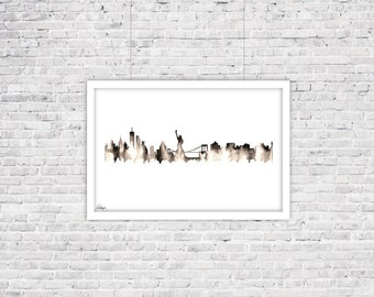New York Skyline Watercolor Silhouette