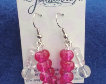 Pink and white, multi-strand dangle earrings