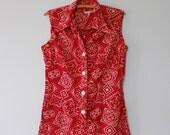 vtg 60s romper / bandana print onesie / Americana playsuit by Serbin of Florida