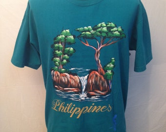 Vintage Hand Painted Philippines T-Shirt Size Large