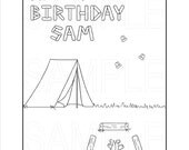 Camping Party Printable Coloring Page, Custom, Digital File, PDF