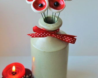 Seven red porcelain poppies - ceramic flowers