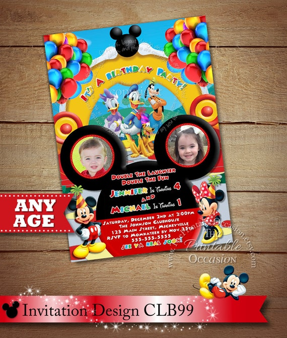 You choose mickey minnie twins birthday invitation twins siblings il570xn stopboris Image collections
