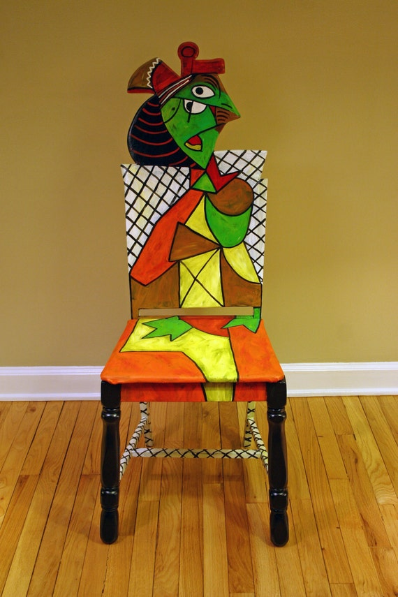 picasso chair femme assise dans un 2 upcycled chair painted by picasso chair sculpture picasso chair caning analysis