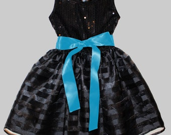 Black w. blue  Sequin Dress - Infant, Toddler & Girls