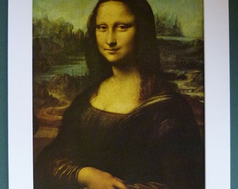 Mounted Print of the Mona Lisa by Leonardo da Vinci Beautiful Renaissance portrait, iconic Italian decor, Mysterious Smile Art, Enigmatic
