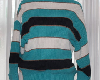 Vintage 1980's Striped Boatneck Sweater With Cuffed Sleeves