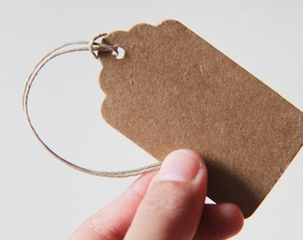 100 Brown Kraft Tags. 4 x 7cm. Paper. Blank. Hang tag. Retro. Rectangle Gift Tag. Gift Wrapping. Product Tag (Cord Included)