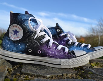 Galaxy Converse, Galaxy Hi Tops, Custom Converse, Nebula Converse, Painted Converse, Galaxy Sneakers, Galaxy Trainers, Galaxy Chuck Taylors