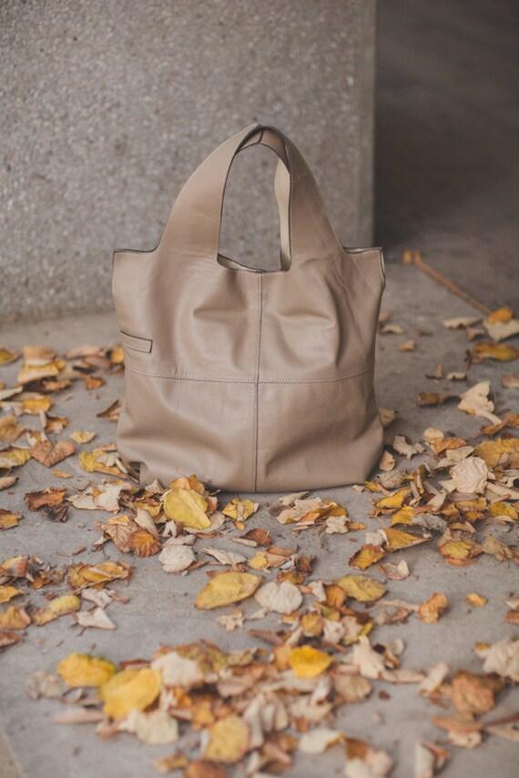74street street bag, Champain Leather Tote Bag, Ivory Tote Leather Bag, Tote Leather Bag, Shoulder Bag, Handmade Bag, Woman