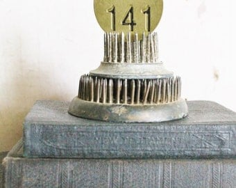 Vintage Metal Number Brass Tags Round Industrial Farmhouse Decor Country Shabby Chic 141