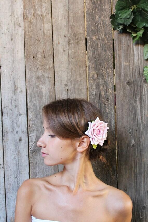Hair clip polymer clay flower. Light pink  rose.