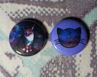 Galaxy Cat Buttons - Set of 2