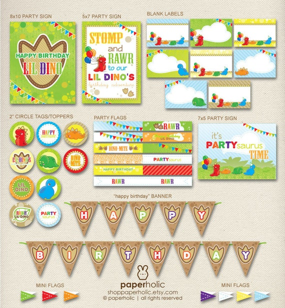 Instant Download Dinosaur Birthday Party Decorations