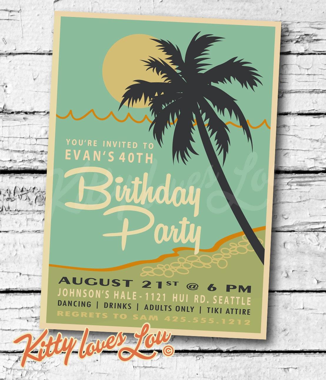 PRINTABLE Birthday INVITATION Digital PDF Retro Hawaiian Luau