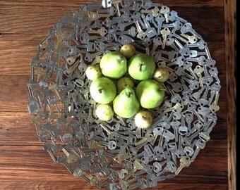 Key platter, 47 cm diameter, Metal plate, Metal sculpture ornament, Made to order