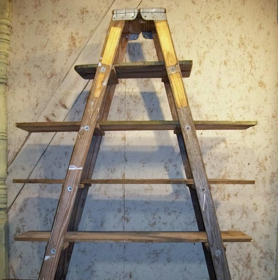 double 5 step ladder shelf frame we will paint or leave it. Black Bedroom Furniture Sets. Home Design Ideas