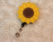 Adorable sunflower - badge clip - nurse badge pull - name badge holder - ID holder - badge reel - felt badge holder - retractable - nurse