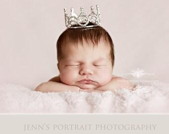 Newborn Rhinestone Crown, Baby Tiara, Baby Crown, Infant Crown, Photo Prop