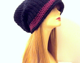 Oversized Knit Beanie Black and Burgundy Baggy Hat  Knit  Winter Hat Dreadlock Hat