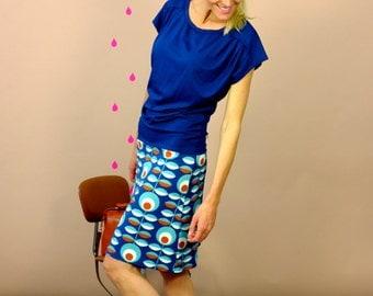 "Kimono dress ""REIKJA BLUE"" with shoulder fold"
