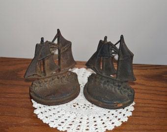 Antique Cast Iron Ship Bookends