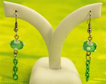 Green Glass Bumpy Bead with Green Chain Earrings (E0025)