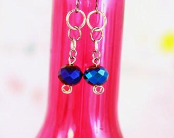 Blue Sparkly Bead Earrings (E0028)