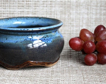 Blue Speckled Bowl -  Wheel Thrown and Altered