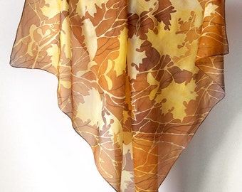 Big scarf AUTUMN scarf LEAVES scarf hand painted silk scarf - square scarf - batik  - silk scarves - brown scarf yellow