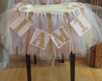 Gold pink, SEAT COVER, Winter onederland,High chair tutu,table skirt,1st birthday,cake smash, I am 1, bling, glitz, gold rhinestone, diamond