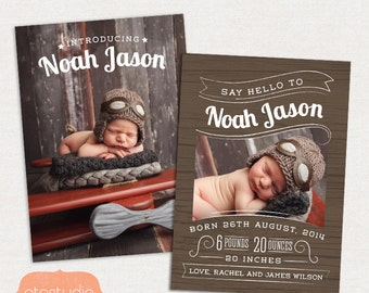 Birth Announcement Template - Retro Baby CB038 - for Photographers PSD frame
