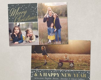 Digital Photoshop Christmas Card Template for photographers PSD Flat card - Gold & Snow CC075