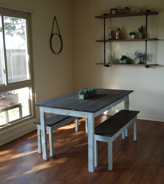 Farm style Kitchen Table with Benches Rustic Dining Table