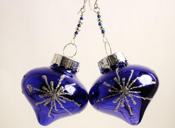 Christmas ornament earrings blue with silver glitter teardrop