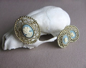 Victorian Cameo Brooch and Earrings, 1950's Jewelry, Wedding Jewelry, Bridal Jewelry