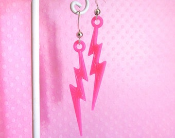Pink Lightning Bolt Dangle Earrings, Kawaii Cute Earrings, Girls Earrings, Plastic