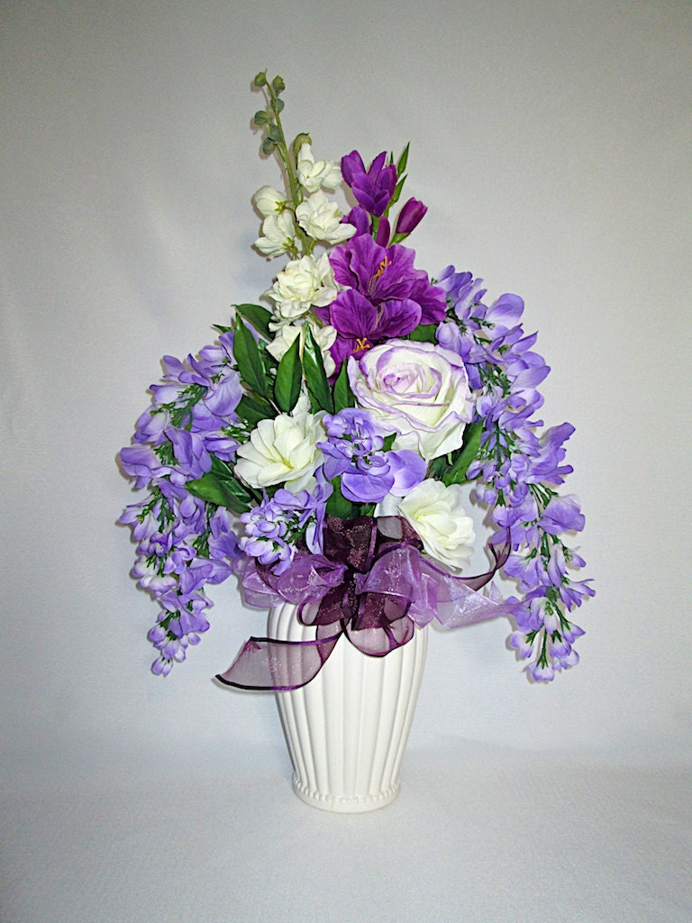 Tall Lavender Silk Floral Arrangement in a White Ceramic Vase