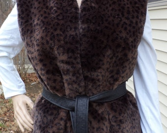 Faux Fur Vest - Black & Brown Leopard Print
